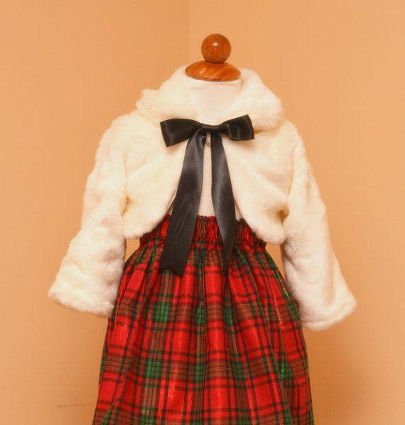 Flower girl dress winter wedding shrug. Girls dress shrug. Faux fur jacket with a skirt. Christmas bolero. Warm fur coat shrug wrap jacket