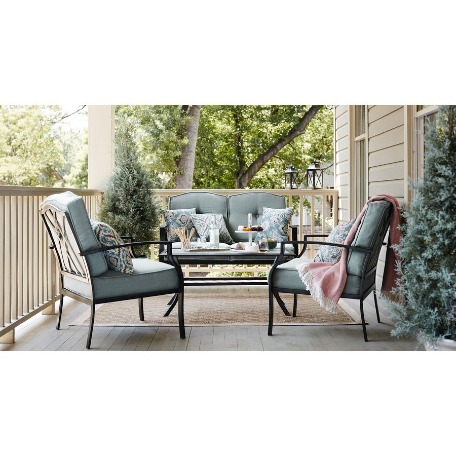 Shop Garden Treasures Cascade Creek 2-Piece Steel Patio Conversation ...