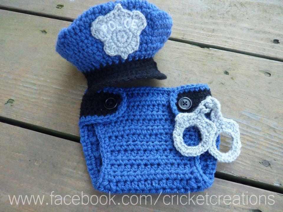 crochet cop hat and hand cuffs