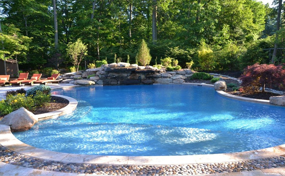 Photo of swimming pool design photo: New Jersey Swimming Pools Landscaping Pool Design: T…