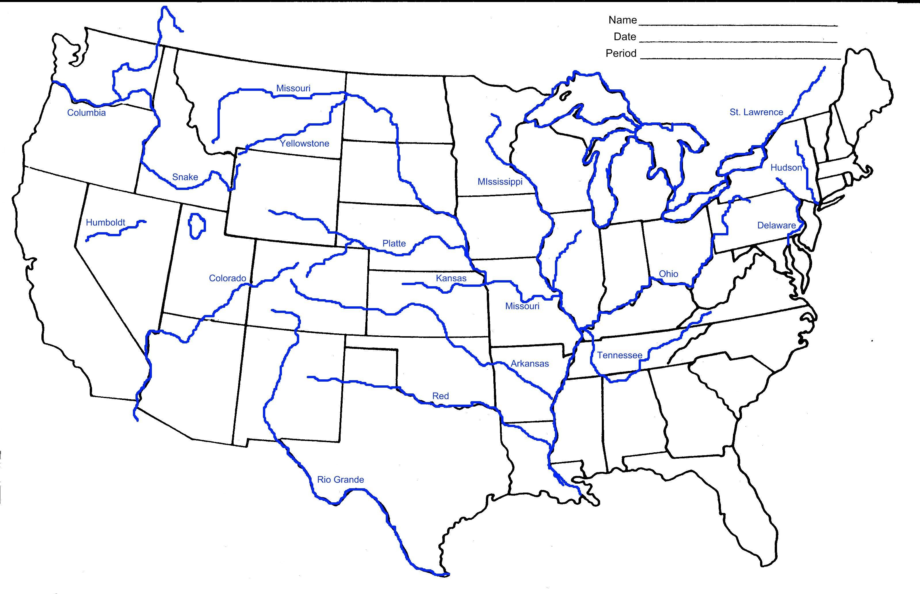 Us Rivers Map Printable Printable Us Map with Major Rivers Valid Printable Us Map with