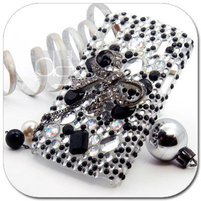 Monte Carlo Bling Skin Case: Rhinestone Black Crystals Diamond Gems Hard Back Case Cover (BL).