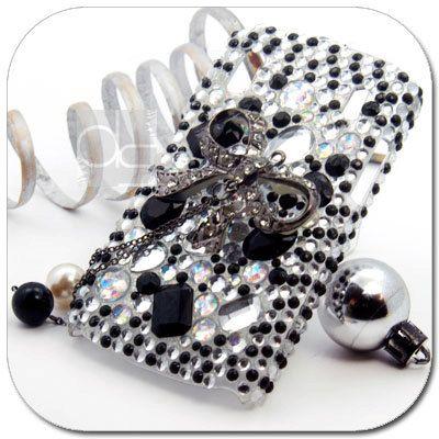 Monte Carlo Bling Skin Case: Rhinestone Black Crystals Diamond Gems Hard Back Case Cover (BL).