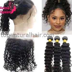 360 Lace Frontal Hair Closure With 3 Bundle Deals Indian Virgin Human Hair  360 Lace Frontal Deep Curly in stock at cheap price for women 3a59e9eaf