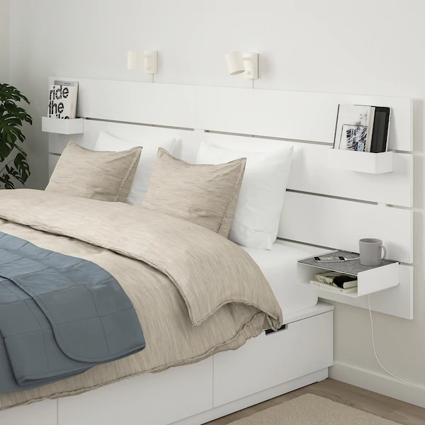 NORDLI Bed with headboard and storage, white, King - IKEA