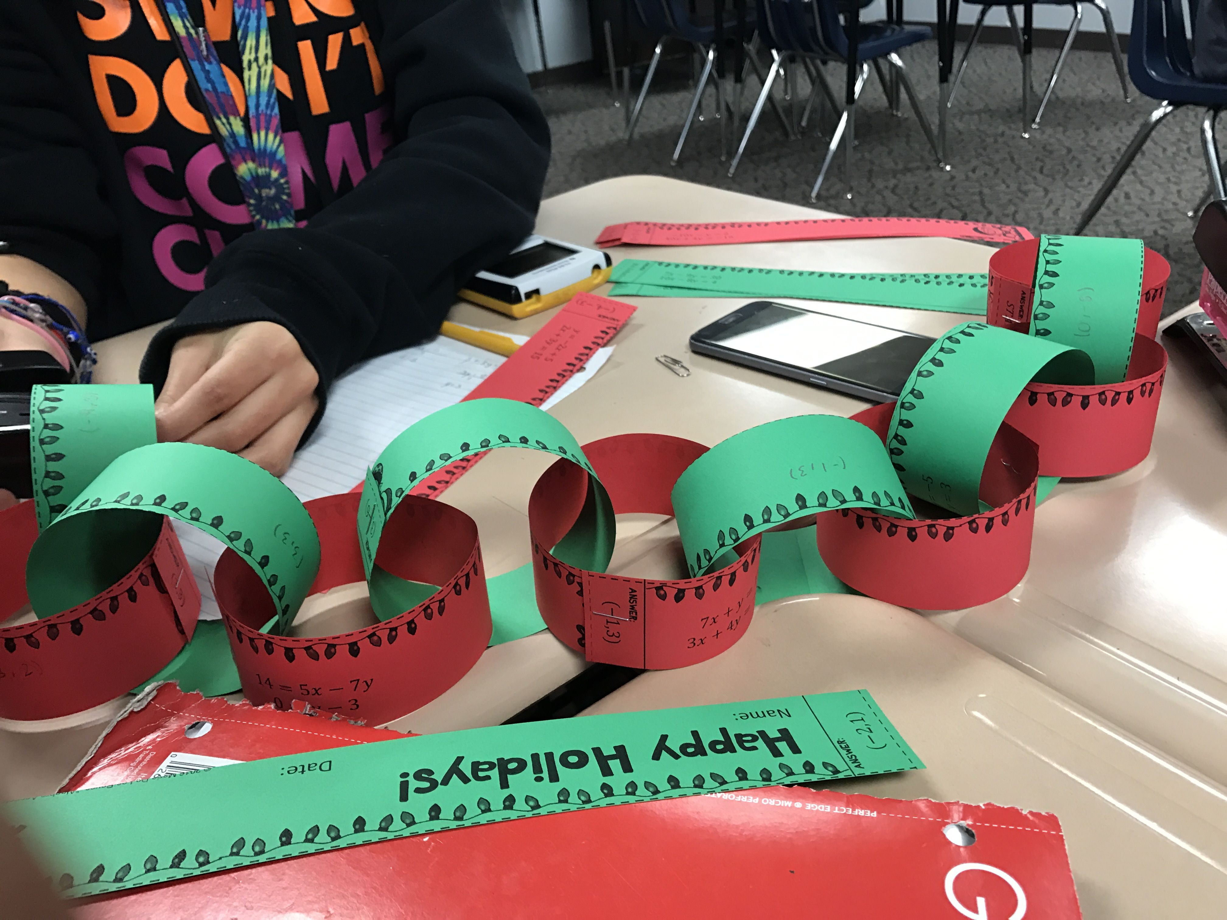 Christmas Algebra Solving Systems Of Equations Garland