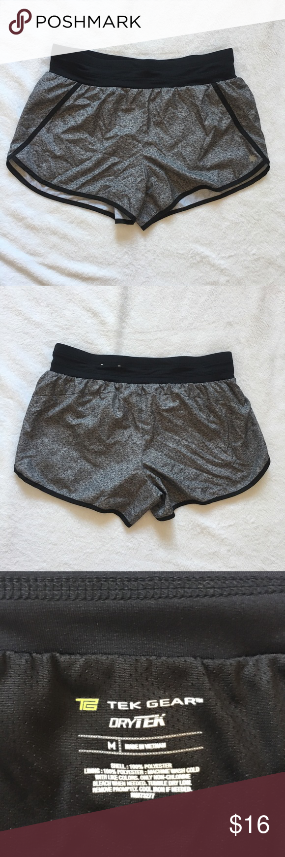 Tek Gear Womens Shorts Black Sz L Mid Rise Workout Athletic Running Dry Tek New