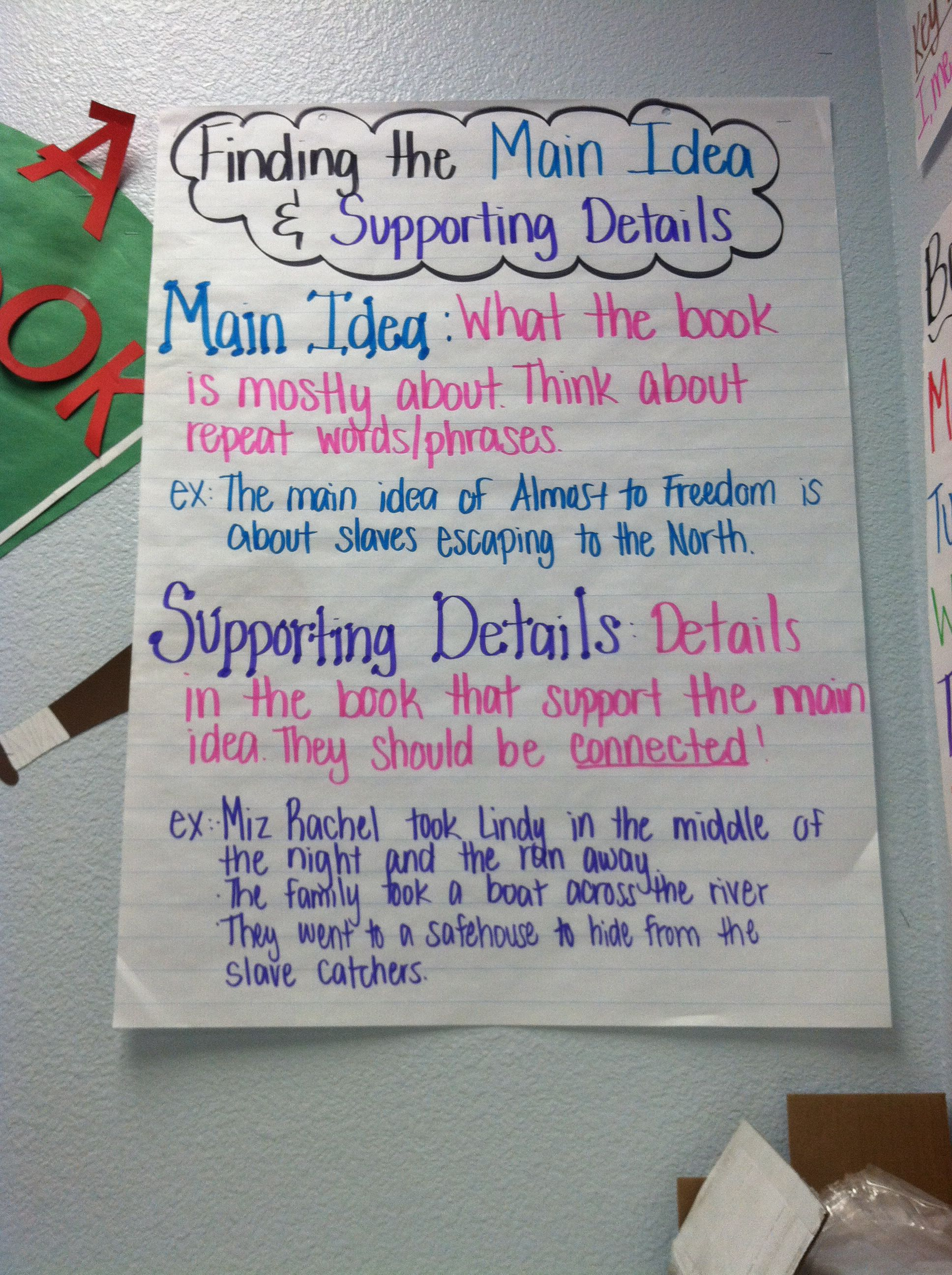 Pin By Jackie Stirling On My Anchor Charts Supporting Details Main Idea Teaching Main Idea