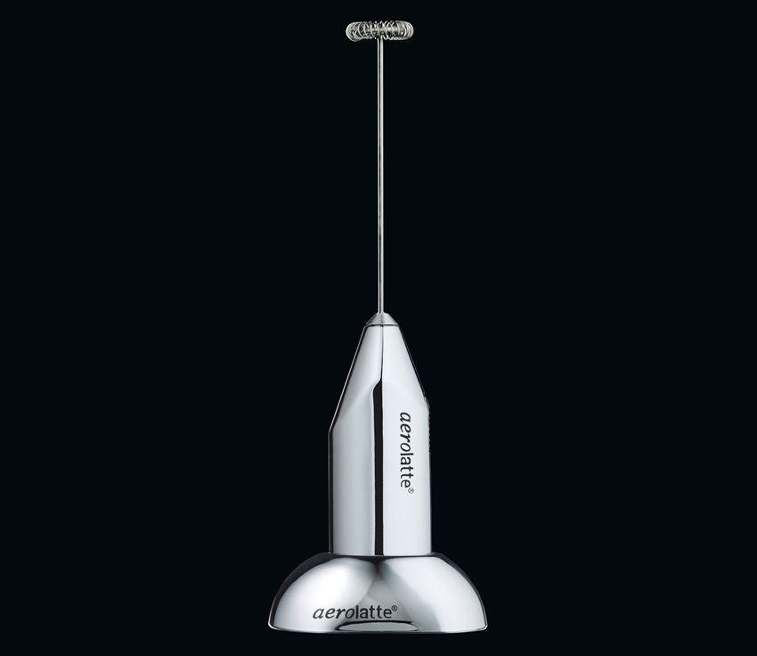 Aufschäumer aerolatte chrom mit Standfuß, inkl. 2 Alkaline-Batterien, Höhe 21 cm