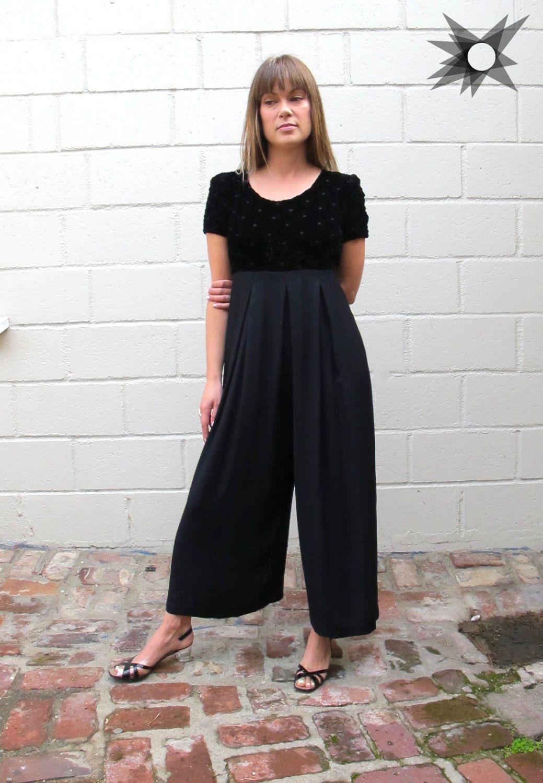 774b0eb990f1a Vintage 1990's Black Velvet Bodice Empire Waist Wide Leg Jumpsuit ...