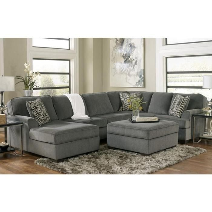 3 piece sectional and ottoman in loric smoke nebraska for Ashley sectional sofa with ottoman