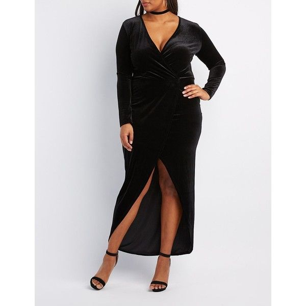 Charlotte Russe Velvet Surplice Maxi Dress ($32) ❤ liked on Polyvore featuring plus size women's fashion, plus size clothing, plus size dresses, black, long sleeve plus size dresses, long sleeve v neck dress, women's plus size dresses, long sleeve wrap dress and v-neck maxi dresses