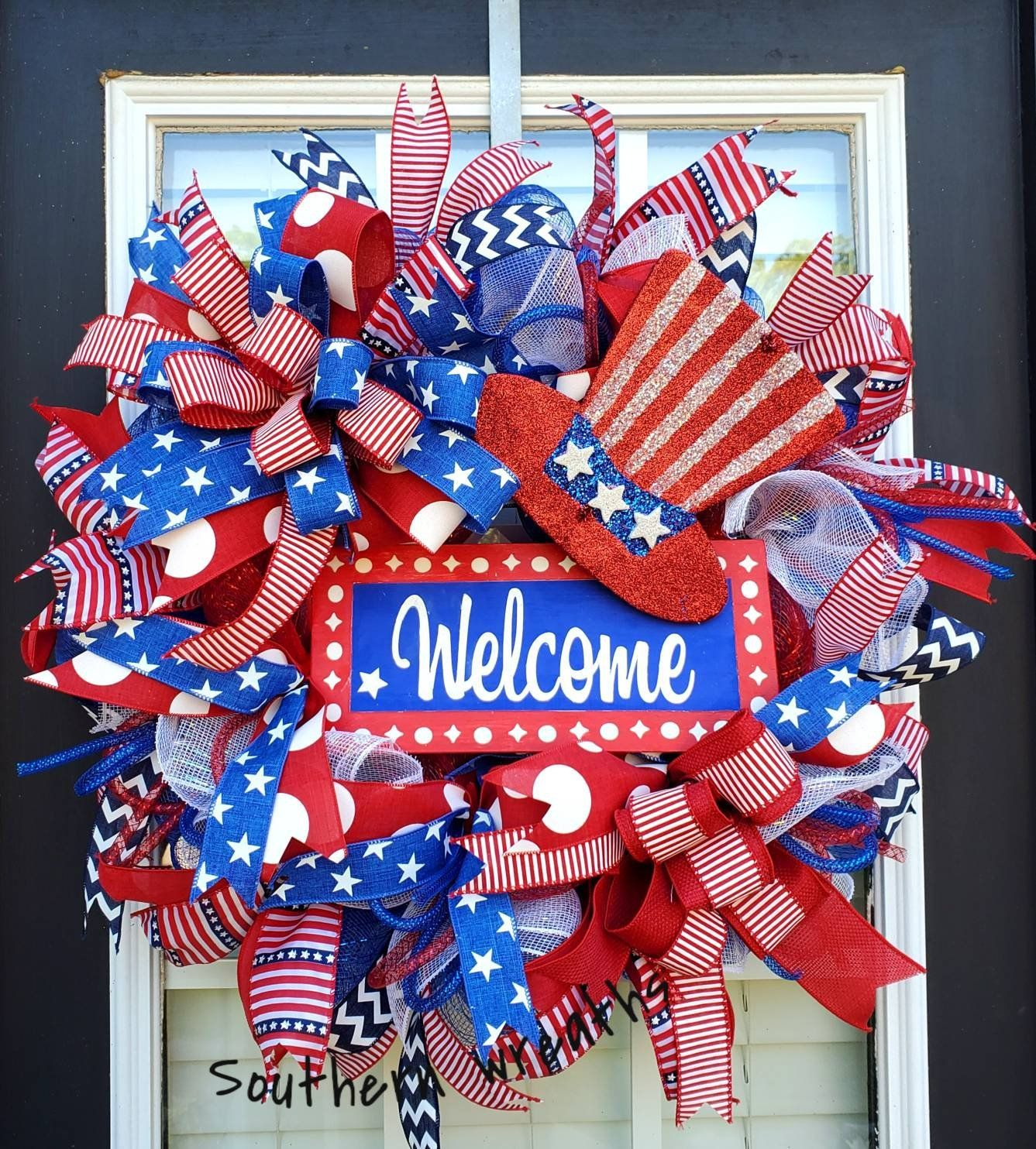 Patriotic Uncle Sam Welcome Wreath Stars And Stripes Decor Patriotic Decorations July 4th Wreat Patriotic Decorations Holiday Wreath Easy 4th Of July Wreath
