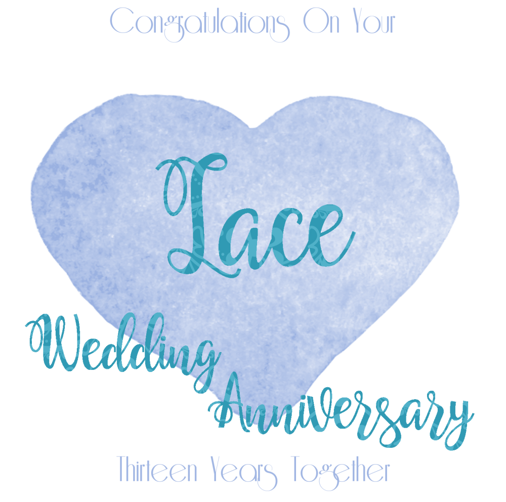 13th WEDDING ANNIVERSARY CARD Lace ANNIVERSARY Greeting
