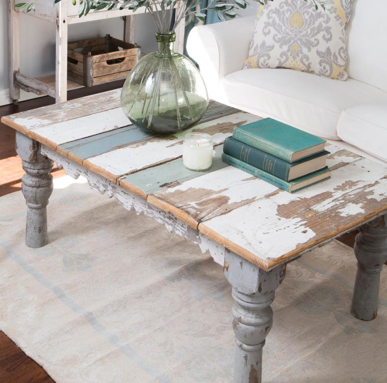 French Country Distressed Coffee Table: Distressed Painted Coffee Table