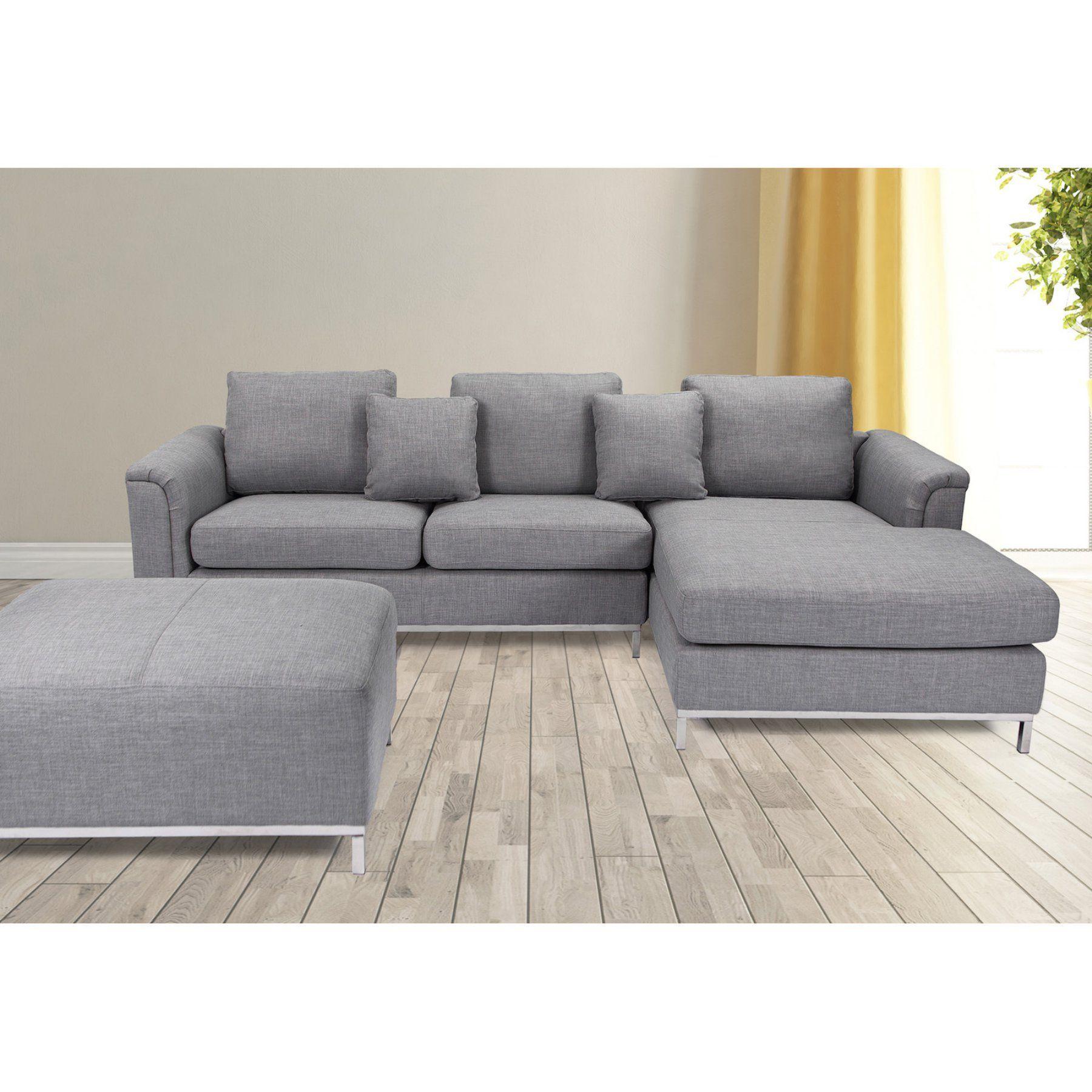 Fabric Sectional Sofa With Ottoman