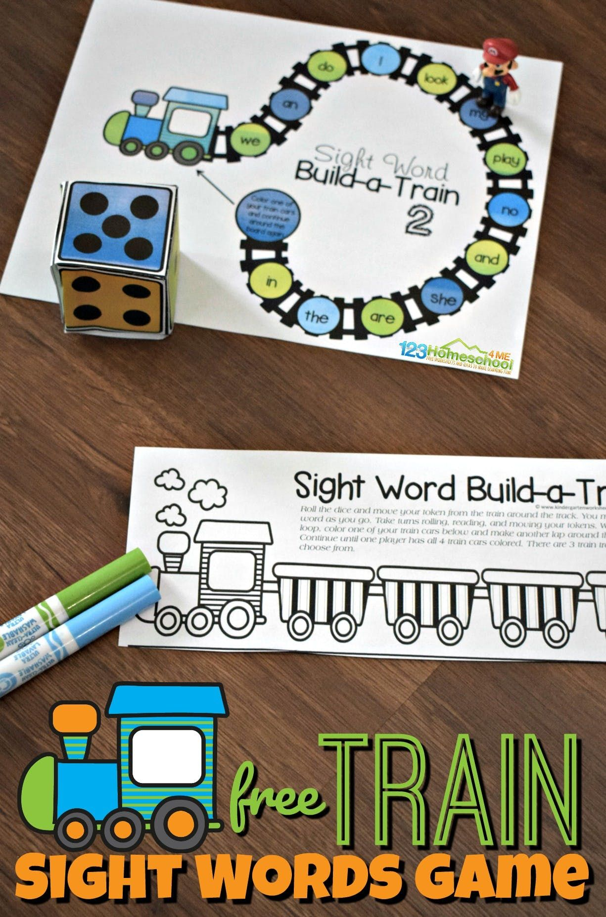 Free Train Sight Words Game Kindergarten Worksheets And