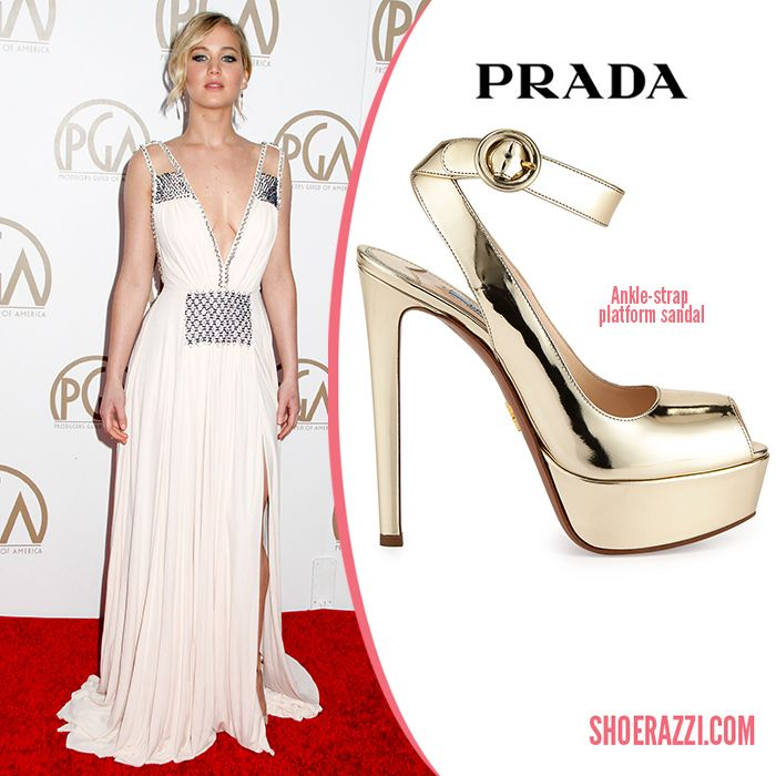463f9899108 Jennifer Lawrence in Prada Mirrored Gold Leather Ankle-Strap Sandal -  ShoeRazzi