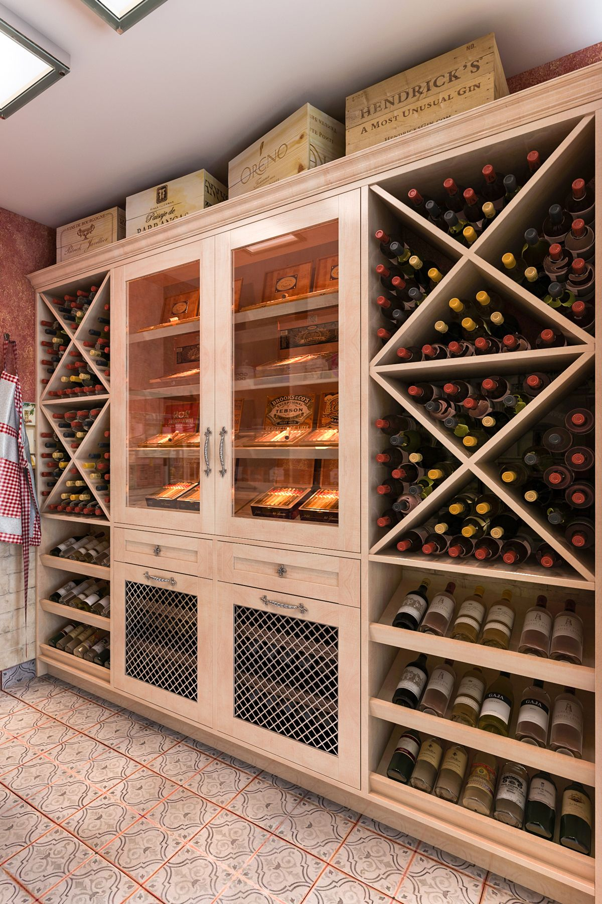 This bination of maple wood and melamine features wine storage in