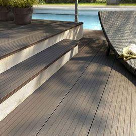 Lame De Terrasse Composite Cierra Anthracite L 220 X L 26 Cm Outdoor Wood Plastic Wood Decking Wood Staircase