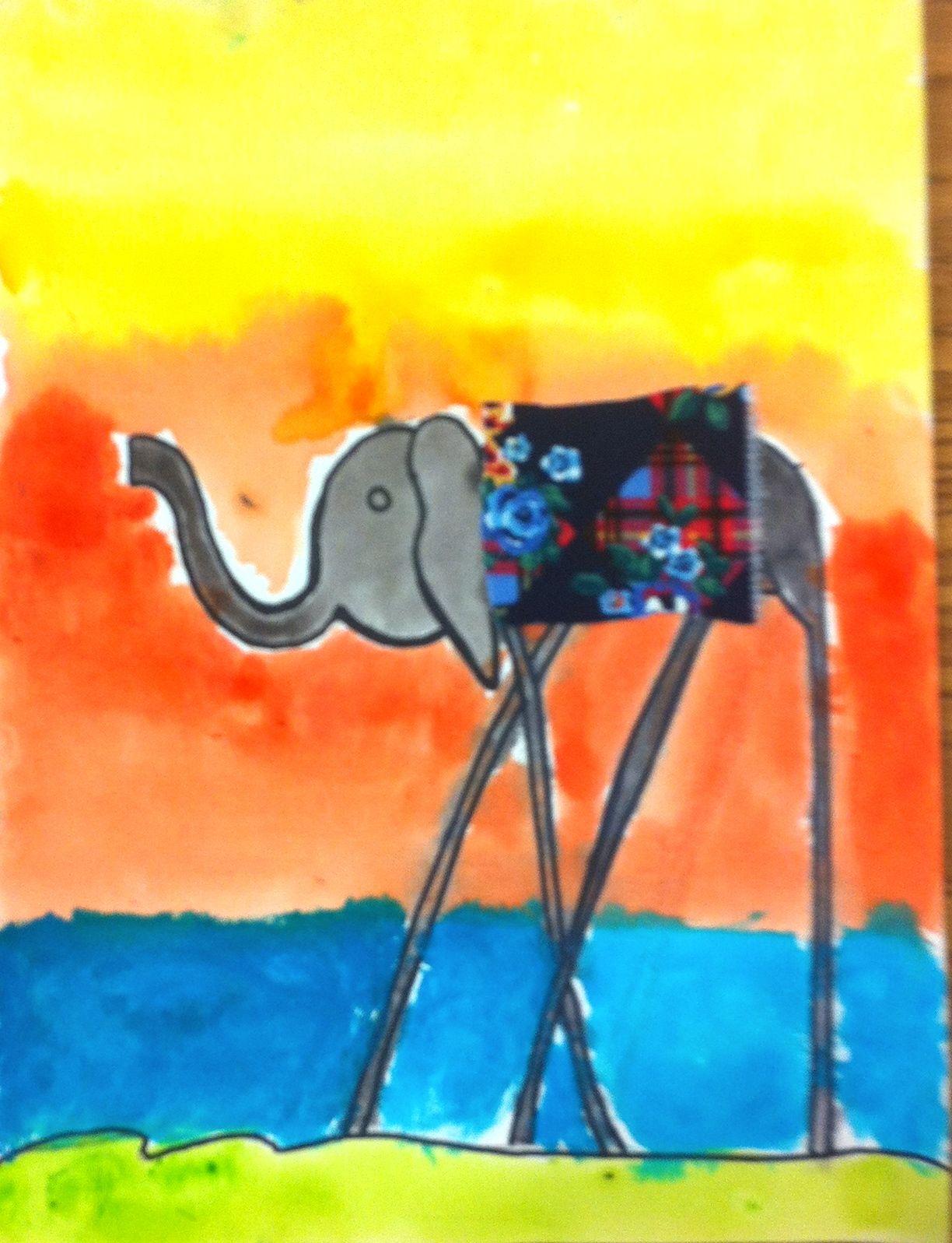Salvador Dali Elephants Surrealism Black Sharpie And