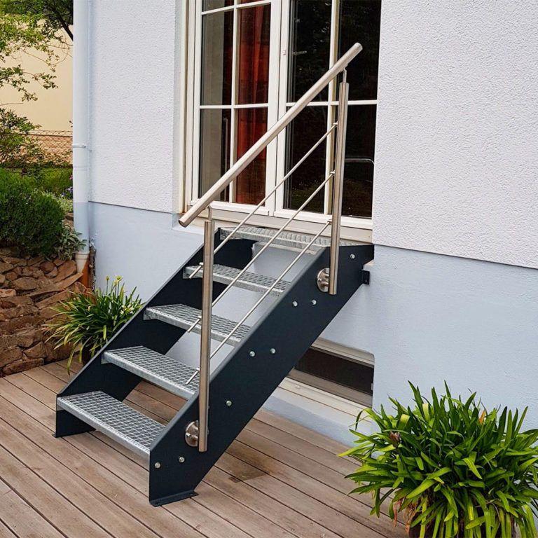 Design Edelstahl Treppe Stahlwangentreppe Standard B1000mm Stahlwangentreppe Handlauf Treppe Gartentreppe