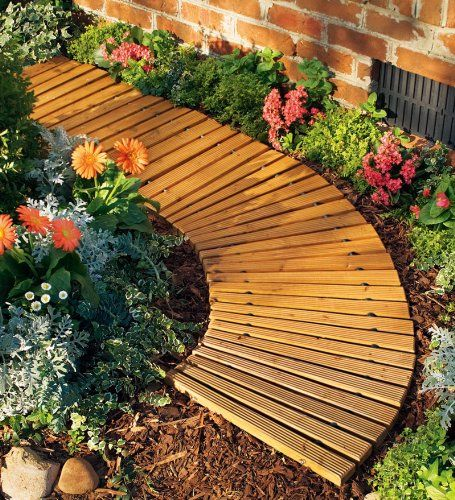 Portable Roll Out Curved Cedar Garden Pathway Plow Hearth http