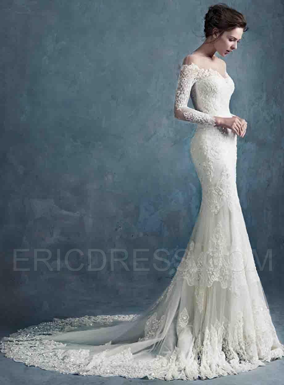 49c47c21f1d Ericdress Off the Shoulder Long Sleeves Mermaid Wedding Dress Wedding  Dresses 2015- ericdress.com 11314350