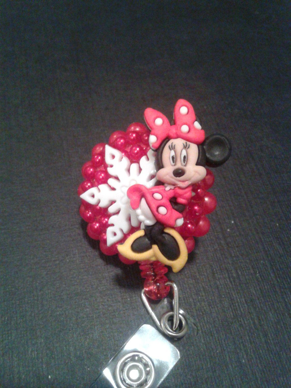 Disney christmas minnie mouse id badge rn reel holder