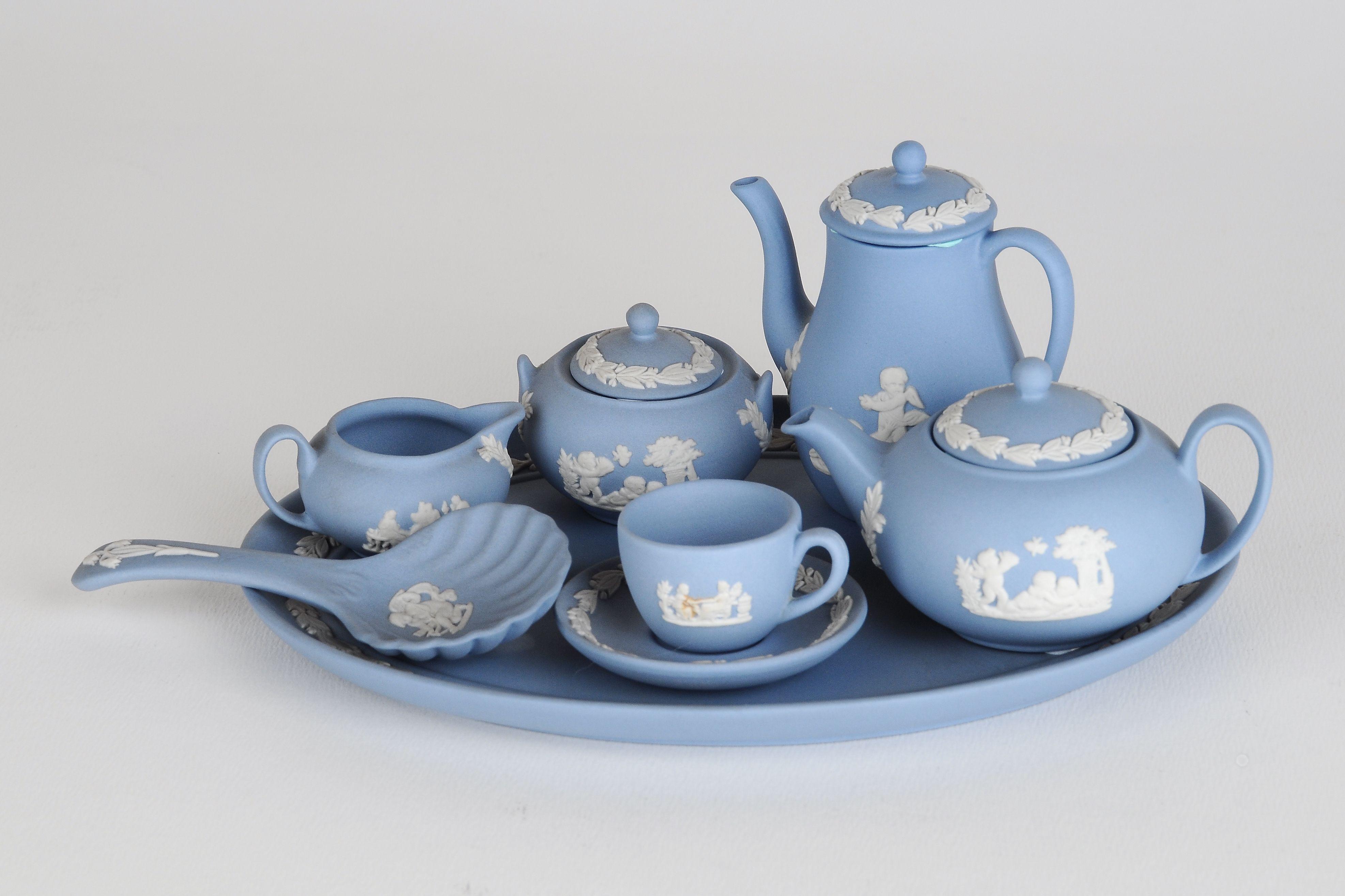 Dollhouse Miniature Tableware Chinaware with Mini Teapots and Miniature Tea Cups