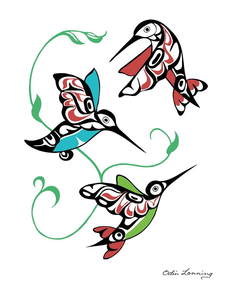 Hummingbirds Native artwork, Native art, Haida art