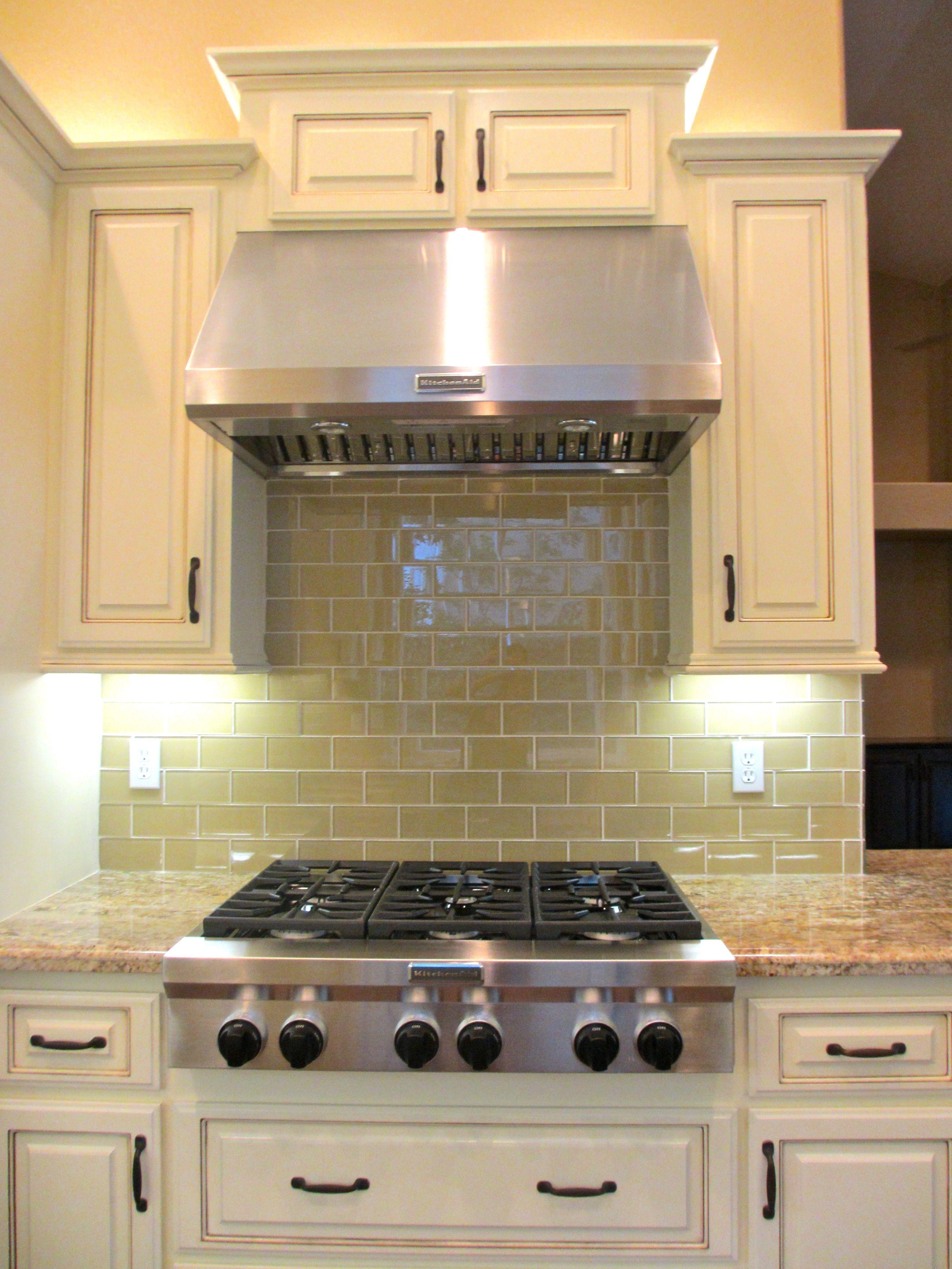 Khaki Glass Subway Tile Modern Kitchen Backsplash Kitchen