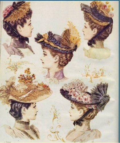Les robes à tournure Chapeaux victoriens, Chapeaux d