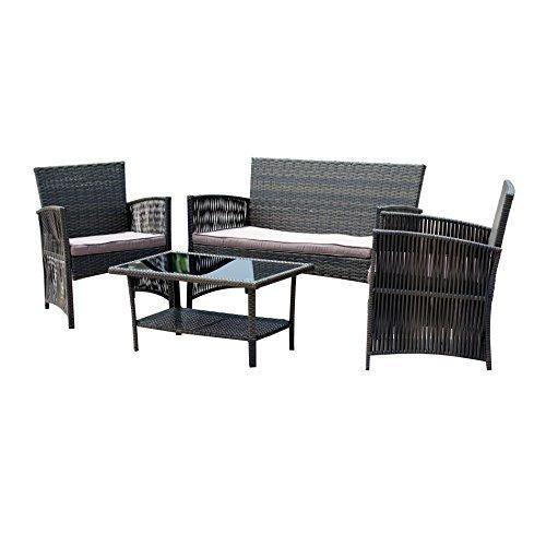 EBS 4 Piece Outdoor Garden Rattan Wicker Patio Furniture Set