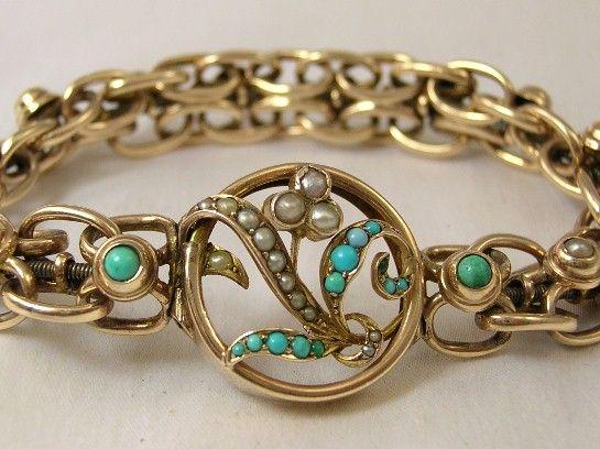 Rare vintage pearl & turquoise bracelet