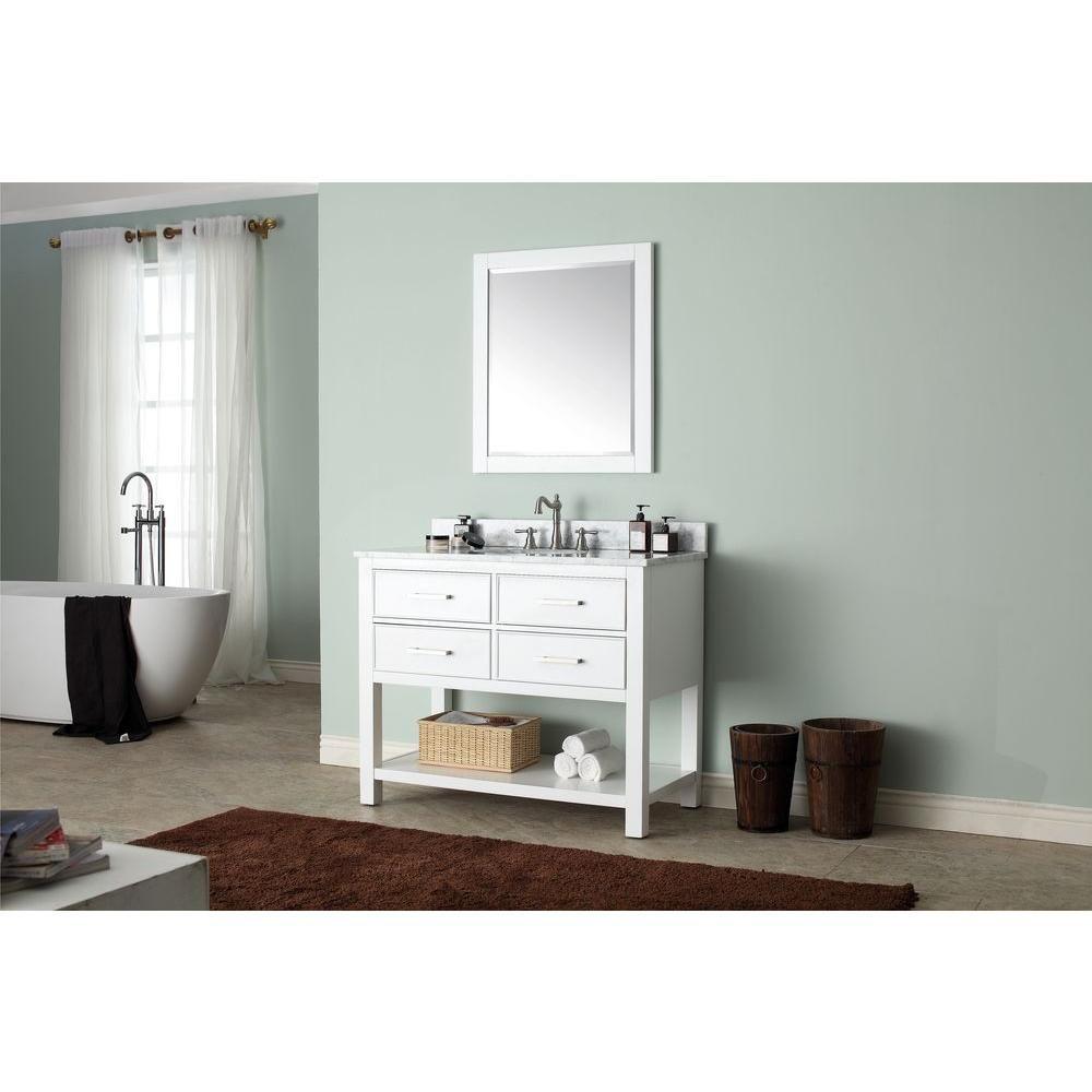 Avanity Brooks 43 In W X 22 In D X 35 In H Vanity In White With Marble Vanity Top In Carrera Wh Single Bathroom Vanity White Vanity Bathroom Bathroom Vanity