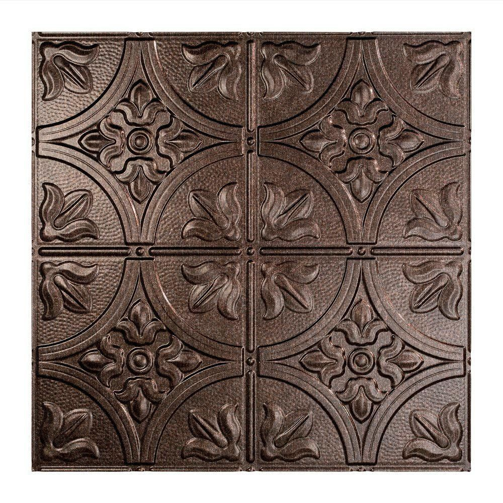 Fasade Traditional Style 2 2 Ft X 2 Ft Smoked Pewter Vinyl Lay