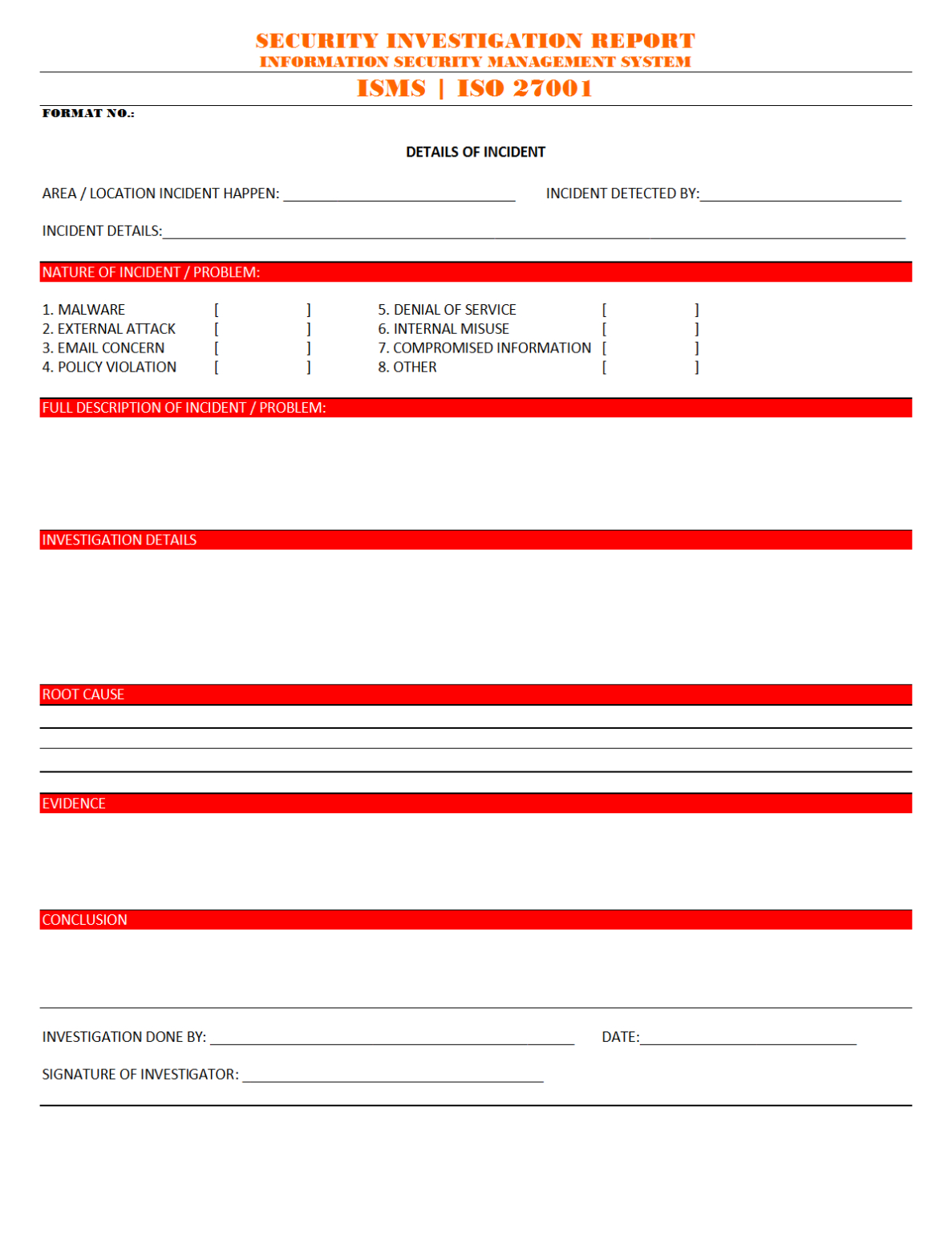 Investigation Report Format Examples
