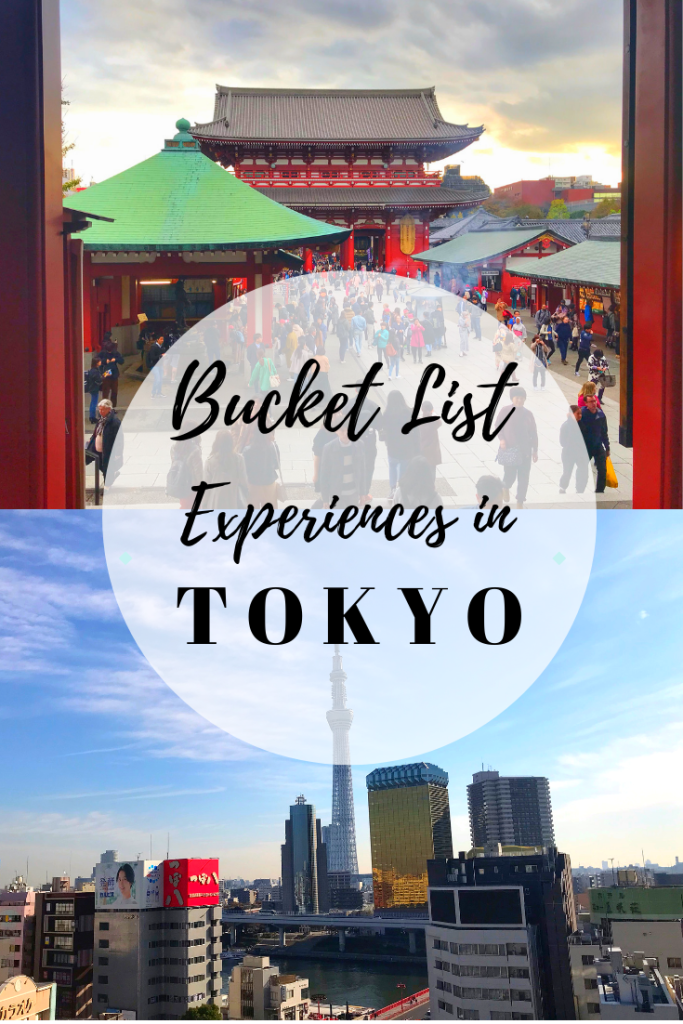 Tokyo Bucket List Experiences You Need To Have. Tokyo is one of the most crazy cities to visit, it's full of culture, history and quirky things to read. Read on to find out about the best experience to have in Tokyo, Japan. #enjoytheadventure #tokyojapan #travelblog #tokyothingstodo #tokyo #traveljapan #travelguide