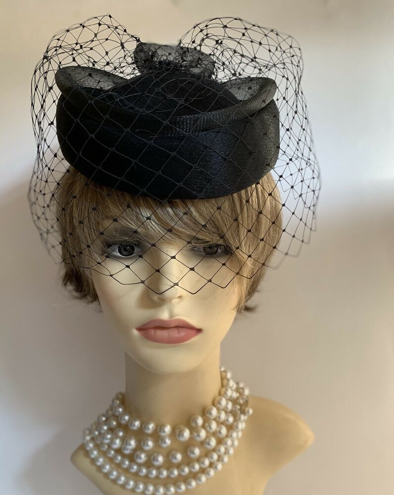 Yessica Vintage 1980s Black Polyester Pillbox Hat Net Face Veil Large Net Bow Ebay Pillbox Hat Hats Elegant Hats