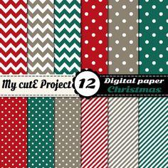 Noël Papier Digital 12x12 Inches Et A4 Rouge Vert Chevron