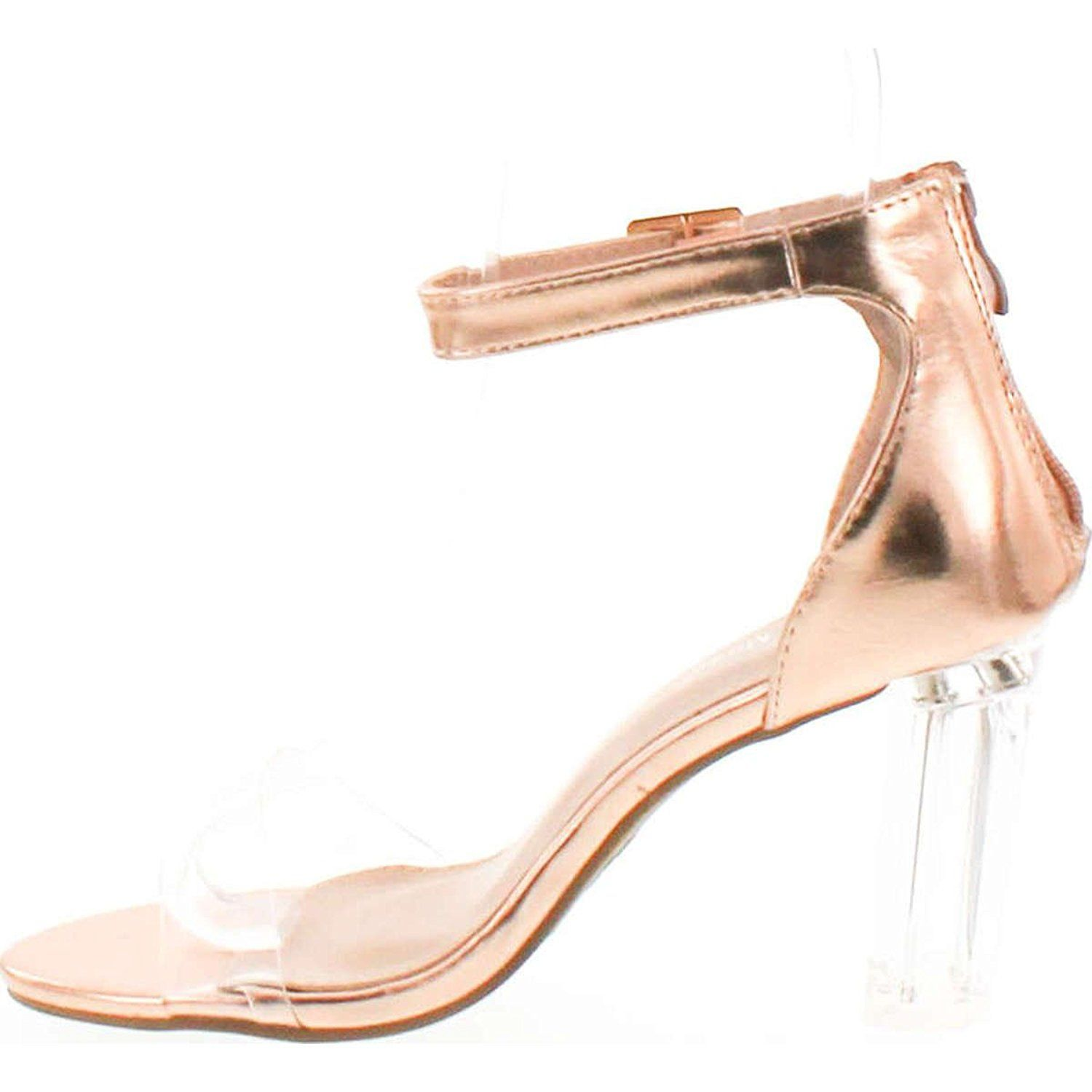 e7accf87590 Top Moda Women s Alma-55 Lucite Clear Strappy Block Chunky High Heel Open  Peep Toe Sandal