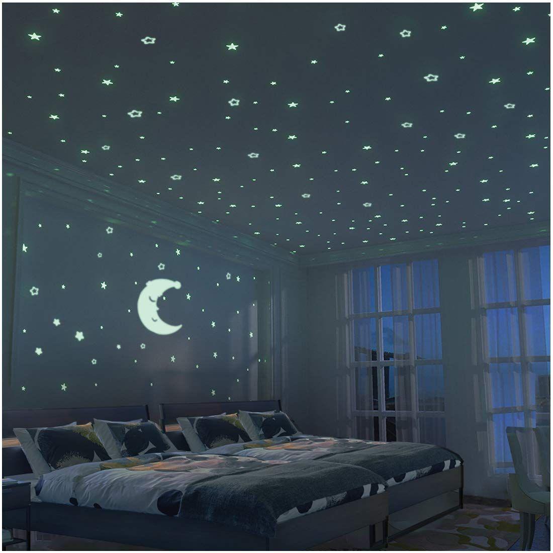 Estrellas Y Luna Pegatina De Pared Para Dormitorio De Niños 300 Más Brillante Estrellas Luminosos Fl Kids Bedroom Walls Wall Stickers Bedroom Ceiling Decor
