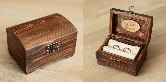 Personalized Wedding Ring Box Rustic Wooden Ring Box Rustic Ring