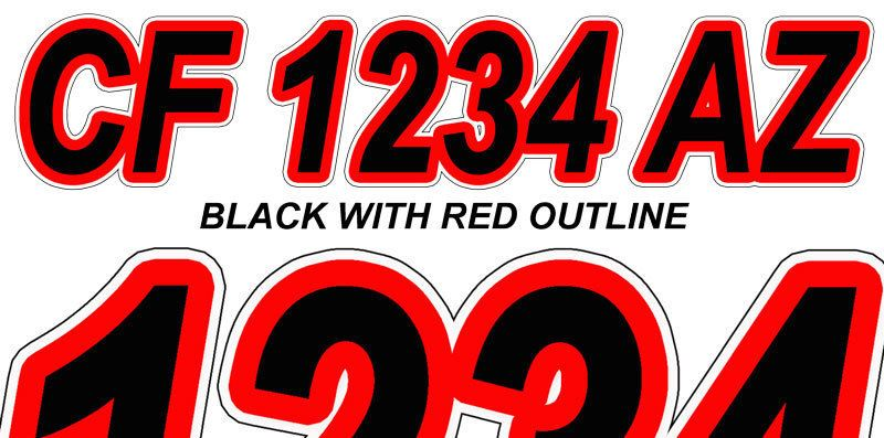 BLACK RED Boat Registration Numbers or PWC Decals Stickers Graphics
