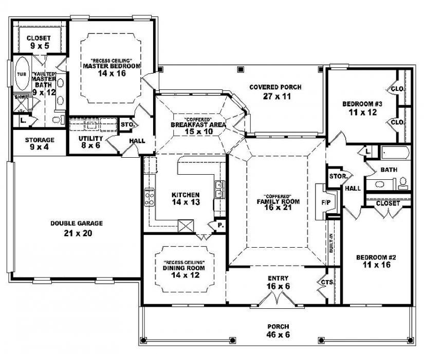 this one story french traditional style house plan features 3 bedrooms 2 baths in a split plan design