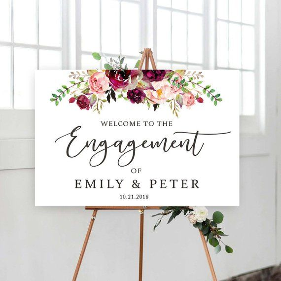 Editable Engagement Party Sign, Printable Welcome to Our Engagement Sign, Welcome sign, Engagement Party Print, Templett, #FL02