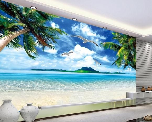 Wall paper ocean beach murals scenery mural wallpaper for Beach wall mural sticker