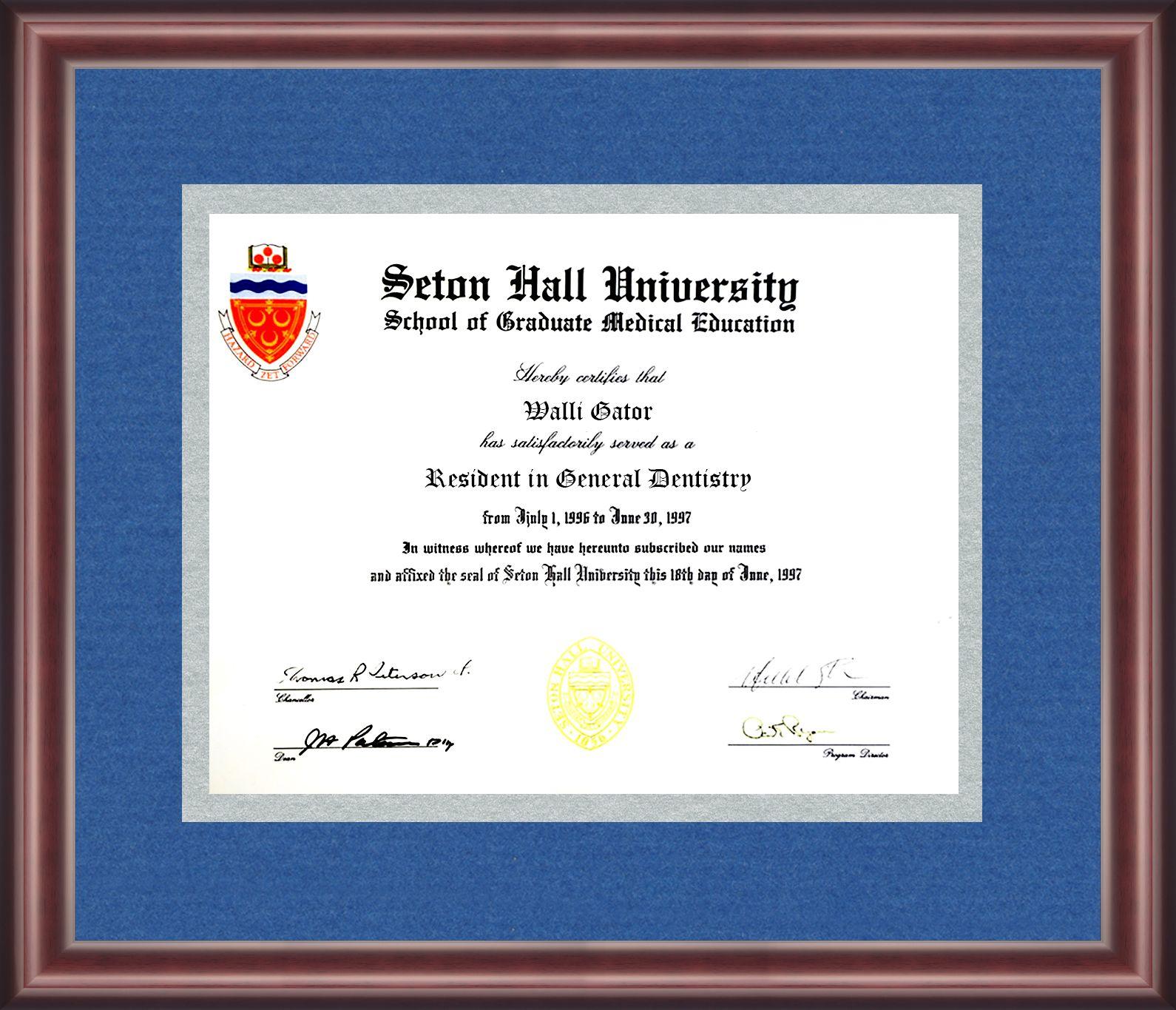 Seton Hall University Diploma Frame Talking Walls Diploma Frame Seton Hall University University Diploma