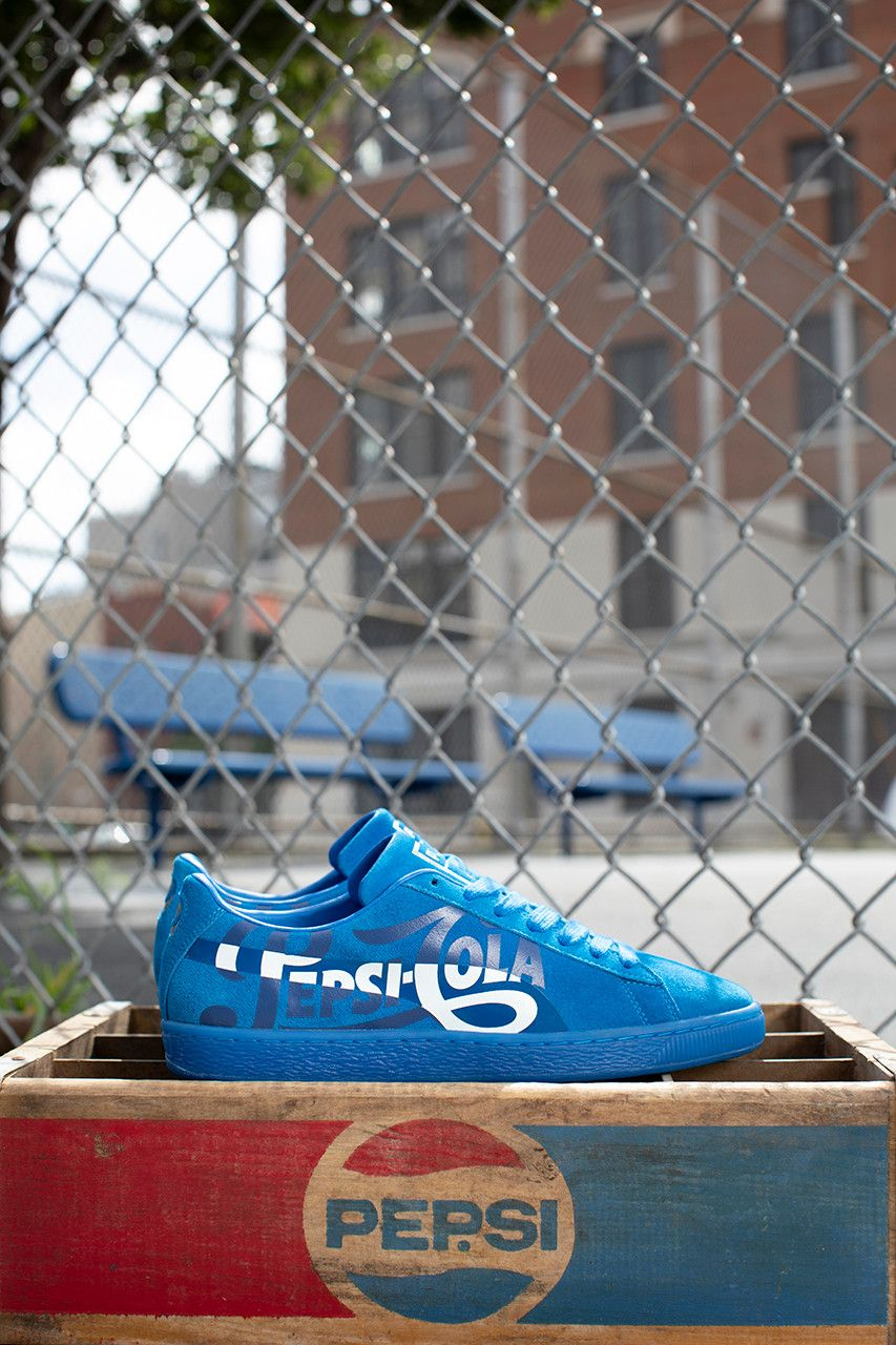 best website 36c49 35f4c PUMA Suede 50th Anniversary Collaboration Pepsi Cola Blue Black Vintage  Inspired Sneaker footwear trainers